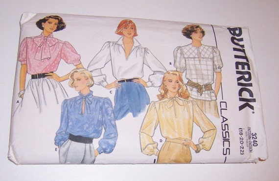 Vintage Butterick 1985 Uncut Classics Misses Blouse Sizes 18 20 22 Pattern Number 3240