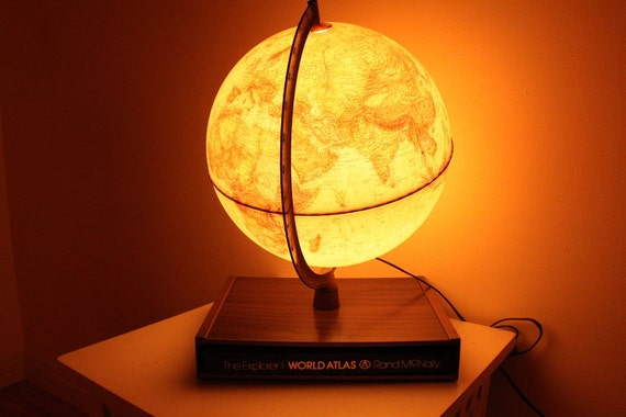 Vintage Globe Lamp With Road Mcnelly World Atlas Book 1980's