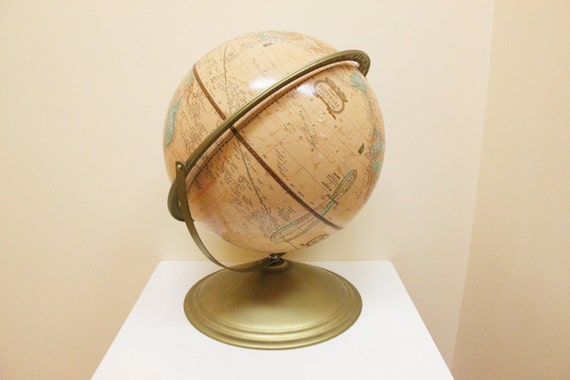 "Vintage 12"" Cram's Imperial World Globe Brass metal stand"