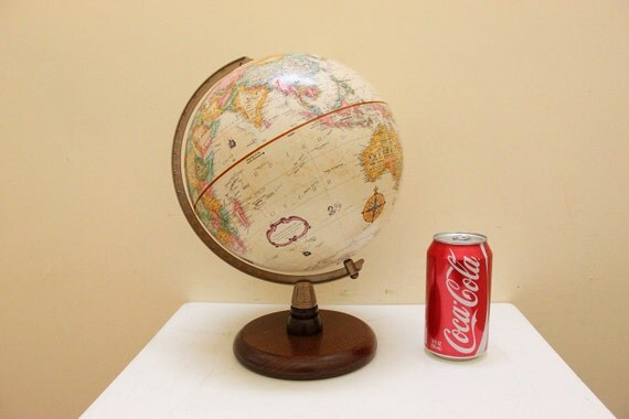 """Vintage Replogle 9"""" World Classic Series Globe Wooden Stand"""