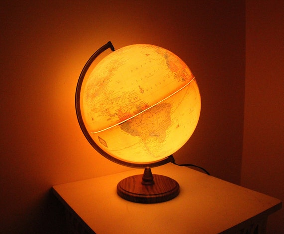 Vintage Cram's Antique Globe Lamp By The George F. Cram Company // Made in USA