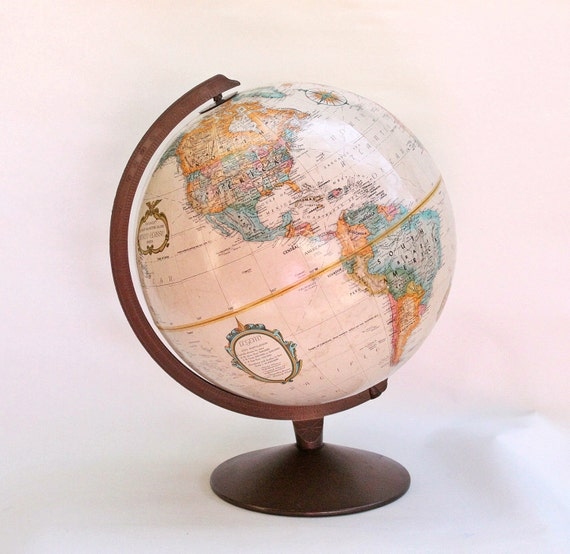 Vintage Replogle 12 Inch Diameter World Classic Series Globe with Dark Copper Color Metal Base // Made in USA