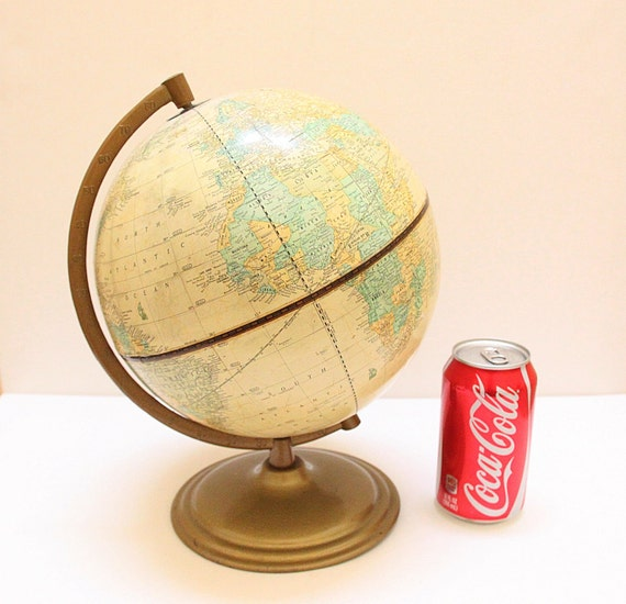 "Vintage 9"" Inch Cram's Imperial World Globe with Antique Brass Color Metal Stand"