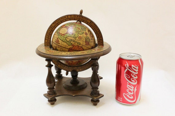 Vintage Small Wooden Globe Stand For Desk / Made in Italy