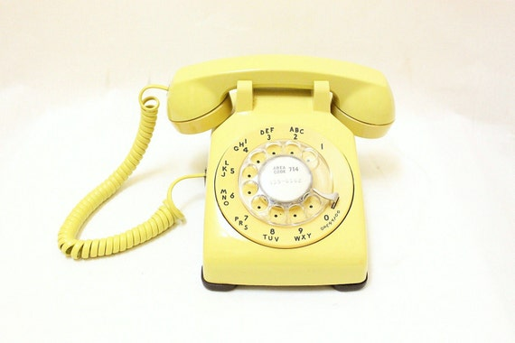 Yellow Working Condition Vintage Rotary Phone 1970s