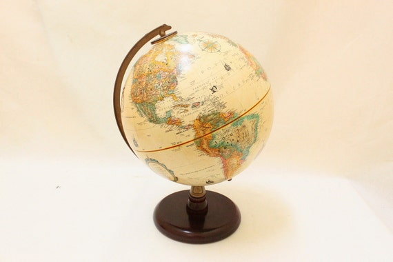 "Vintage Replogle 9"" World Classic Series Globe Wooden Stand"