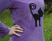 "Purple velour dress ""Black cat"". Handmade and unique. size M."