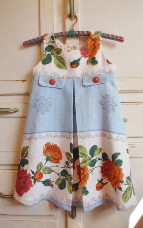 Upcycled Vintage Floral Pleated Girl Barkcloth Dress Size 5