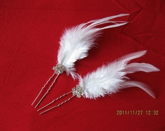 1pcs white feather hair pins with Rhinestone