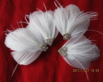 white feather hair pins with Rhinestone Feather Fascinator Bridal feather headpiece wedding flower