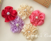 Handmade Satin Ribbon Flower - Available in different colours -Sewing - Decoration - 10 PCS - FREE SHIPPING