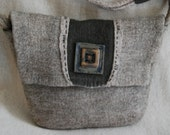 Hand Felted Bag in Natural & Green Merino Wool