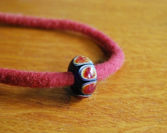 Red Felt Lampwork Bead Necklace