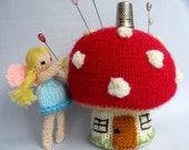 Toadstool Pincushion and Fairy - pinkeep knitting pattern - PDF INSTANT DOWNLOAD