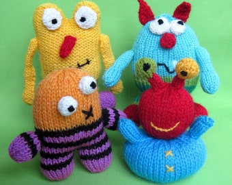 Little Monsters - toy monster alien doll knitting pattern - PDF INSTANT DOWNLOAD