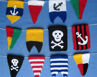 Pirate Bunting Flags - boat pennants knitting pattern - PDF INSTANT DOWNLOAD