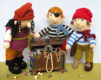 Pirates - toy doll knitting pattern - PDF INSTANT DOWNLOAD