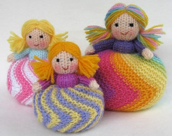 Twirling Doughnut Dolls - toy doll or pincushion knitting pattern - PDF INSTANT DOWNLOAD
