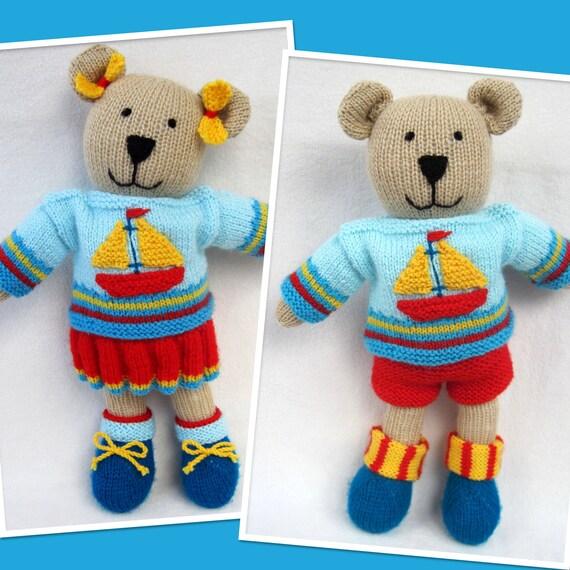 Knitting Patterns For Dolls And Teddy Bears : Tilda and Tommy-Ted toy teddy bear dolls knitting by toyshelf