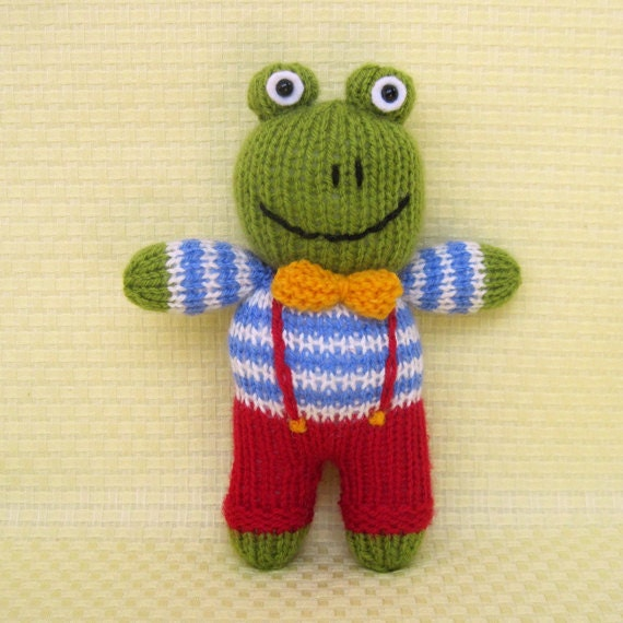 Knitting Pattern For Iggle Piggle Toy : Jelly Bean the frog toy animal doll knitting pattern by toyshelf