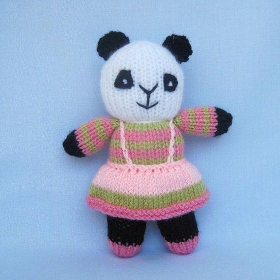 Free Knitting Patterns Panda Toy : Peppermint the panda toy animal doll knitting pattern by toyshelf