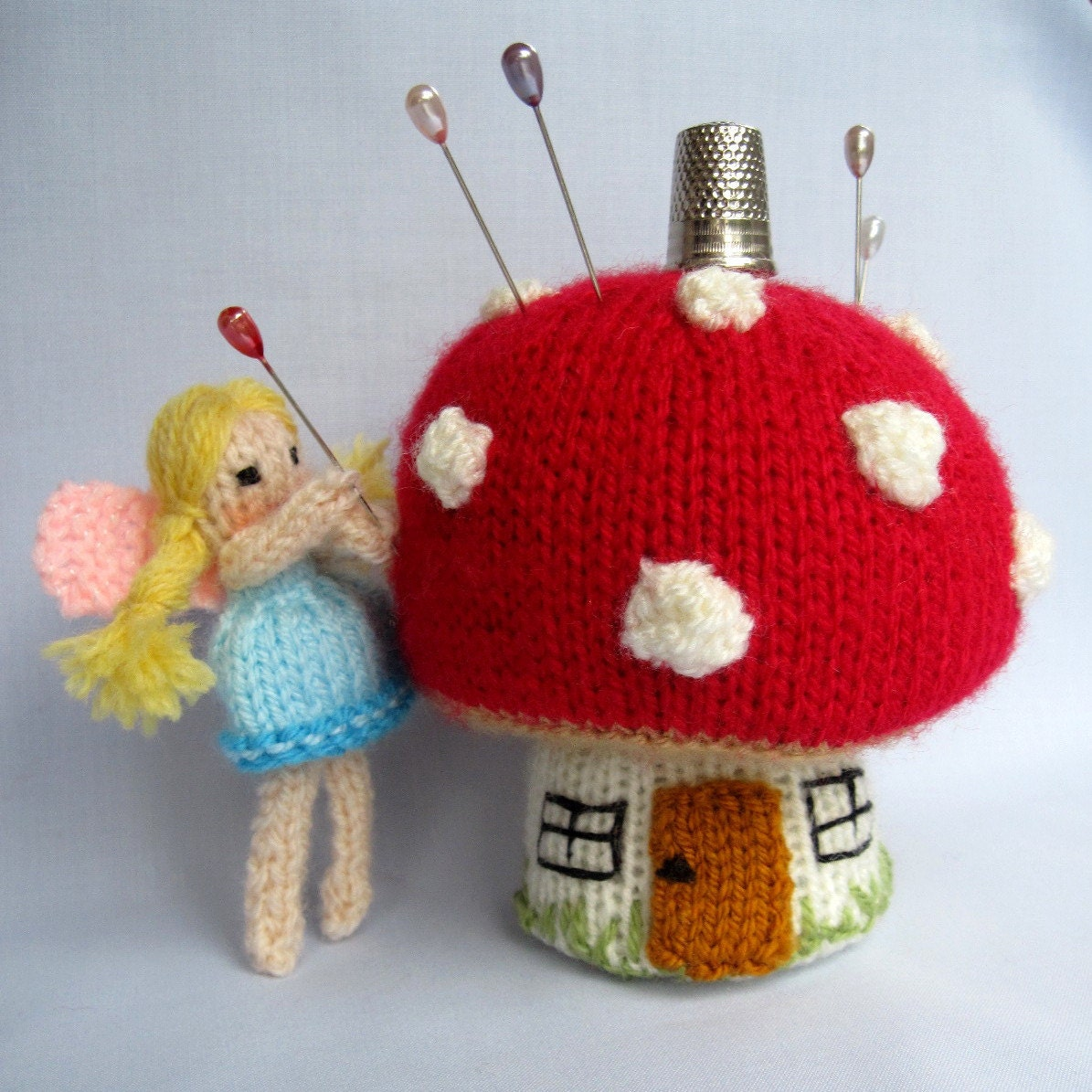 Toadstool Pincushion and Fairy pinkeep knitting pattern