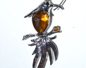 Amber Bird Bookmark with FREE Journal hand-beaded Gorgeous