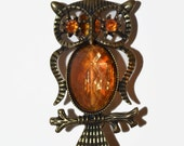 Owl Keychain/Purse Jewelry OOAK Amber Rhinestone Eyes Brass Hand Beaded