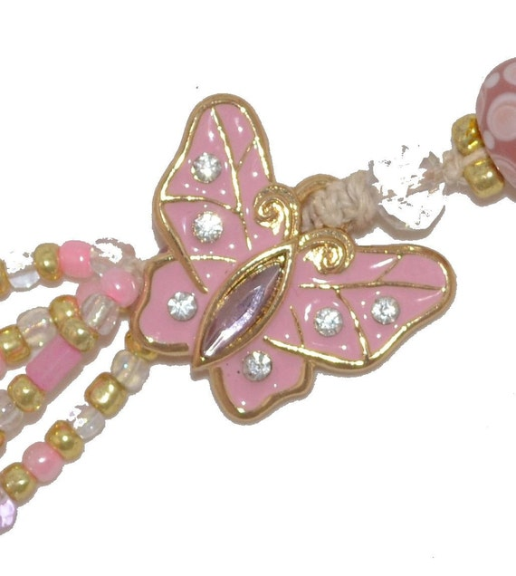 Spring Pink Butterfly Enamel Rhinestones Gold-Plated Beaded  with FREE Journal