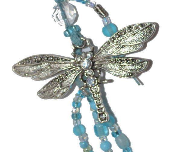 Dragonfly Keychain Lovely Gift Ideas Under 20 for her Aquamarine Blue OOAK Beaded