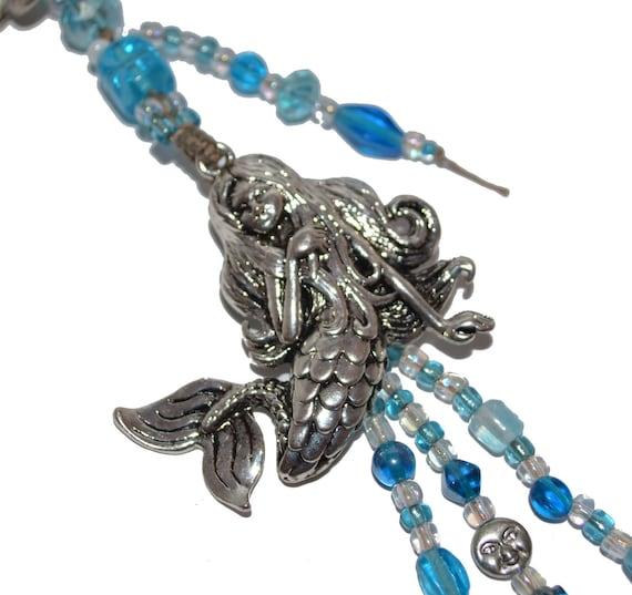 Mermaid HandMade Blue Aqua Beaded KeyChain or Purse Jewelry OOAK Exquisite