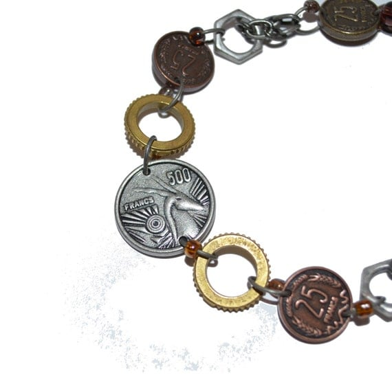 Christmas Ready to Ship  Men's or Women's Recycled Art Bracelet OOAK French Coins Nuts Steampunk Autumn Trends