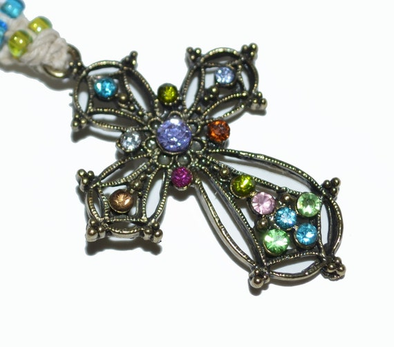 Colorful CROSS Bookmark Exquisite Antique Brass Rhinestone Gift Idea OOAK with Free Blank Journal