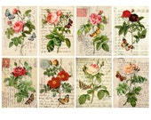 Vintage Roses and Butterflies - ATC, ACEO, tags - Digital Collage Sheet Printable Download - 51