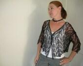 Beautiful Black Lace Hand Knit Cardigan
