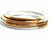 New Beaded Leather Bangle Bracelets, Pure White and Gold-Plated Tube Beads (QTY 10) - MARIGOLD