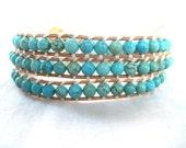 Turquoise Beaded Leather Wrap Bracelet, Triple Wrap- ISLE BREEZE