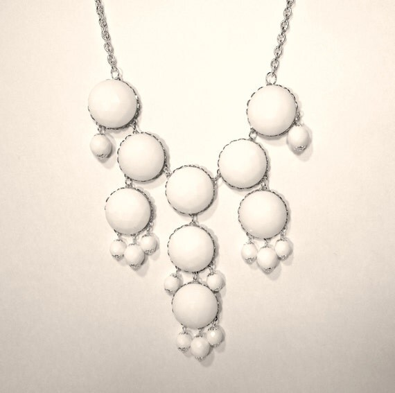 White Bubble Necklace - Statement Necklace, Similar to J.Crew