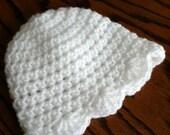 White Crochet Baby Hat with Ruffle, Crochet Baby Hat, Newborn Hat, Baby Hat, White Hat, Hat with Ruffle, Baby Girl Hat, Baptism