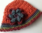 Crochet Baby Hat with Flower, Salmon Baby Hat, Newborn Hat with Flower, Crochet Baby Hat, Newborn Baby Hat