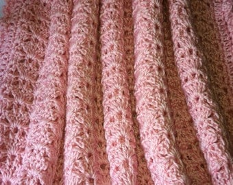 """Soft and Cozy Baby Afghan in """"Whisper of Dusty Rose"""", Pink Crochet Baby Afghan, Crochet Baby Blanket, Christmas Gift for Baby"""