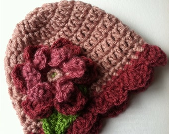 Crochet Baby Hat with Flower, Fuscia and Rose Hat with Flower, Baby Hat, Newborn Hat with Flower, Crochet Baby Hat, Newborn Hat, Infant Hat