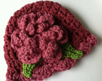 Crochet Baby Hat with Flower, Medium and Dark Fuscia Baby Hat, Newborn Hat with Flower, Crochet Baby Hat, Newborn Hat, Infant Hat