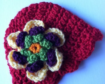 Crochet Baby Hat with Flower, Red Baby Hat, Newborn Hat with Flower, Crochet Baby Hat, Newborn Baby Hat