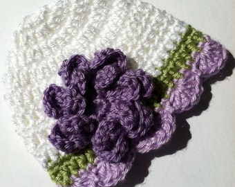 Crochet Baby Hat with Flower, White and Lavender Baby Hat, Newborn Hat with Flower, Crochet Baby Hat, Newborn Baby Hat