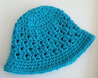 Bright Blue Sun Hat, Crochet Baby Hat, Newborn Hat, Baby Hat, Blue Hat,  Baby Hat, Baby Girl Hat, Summer Sun Hat