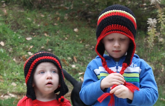 Crochet Hat with Earflaps, Boys, Girls, Red, Black, Accessories, Photo Prop, Winter Hat, Baby, Newborn, Toddler, Child, Teen Adult Hat