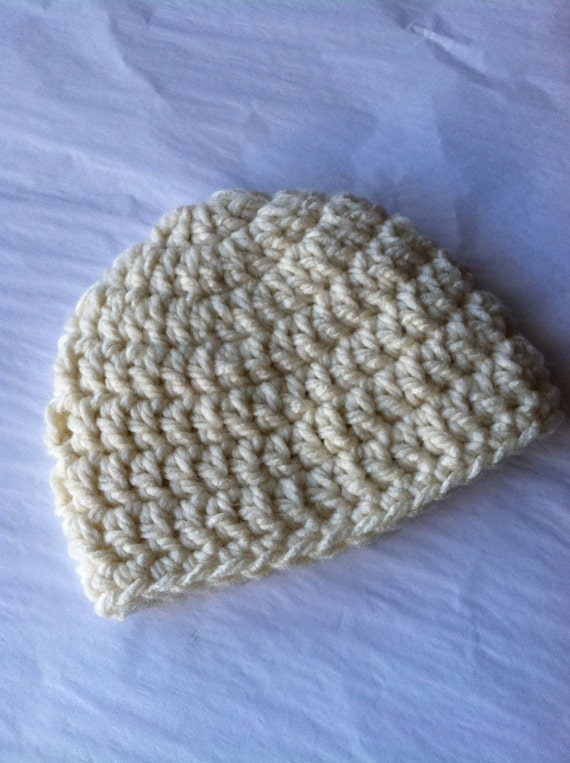 Items similar to Crochet Baby Hat in Bulky Cream Yarn ...