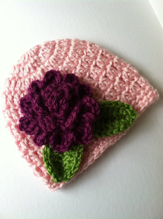 Crochet Baby Hat with Flower, Crochet Baby Hat, Newborn Hat, Baby Hat, Pink Baby Hat, Hat with Flower, Valentine Baby Hat, Infant Hat