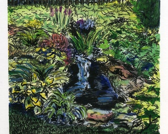 Garden Waterfall in Brandon, VT  - Ink and Watercolor - 4x4 ORIGINAL matted and framed in 8x8 frame